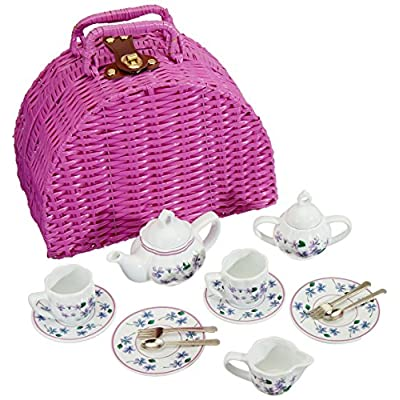Delton Products Dollies Tea Set in Basket, Purple/Violet: Toys & Games