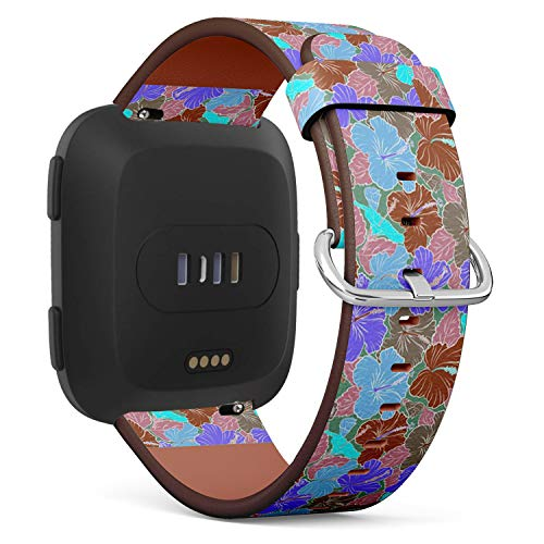 (Compatible with Fitbit Versa - Quick-Release Replacement Accessory Leather Band Strap Bracelet Wristbands (Bright Hawaiian Design Tropical) )