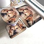 DING English Bulldog Dog Soft Comfort Flannel Bathroom Mats Non-Slip Absorbent Toilet Seat Cover Bath Mat Lid Cover,3pcs/Set Rugs 7