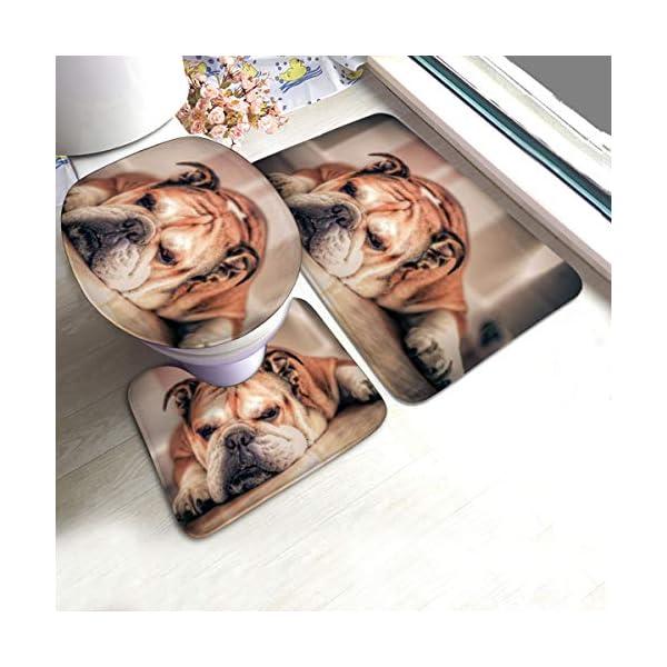 DING English Bulldog Dog Soft Comfort Flannel Bathroom Mats Non-Slip Absorbent Toilet Seat Cover Bath Mat Lid Cover,3pcs/Set Rugs 1