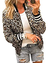 Womens Jackets Lightweight Zip Up Casual Inspired Bomber Jacket Leopard Coat Stand Collar Short Outwear Tops