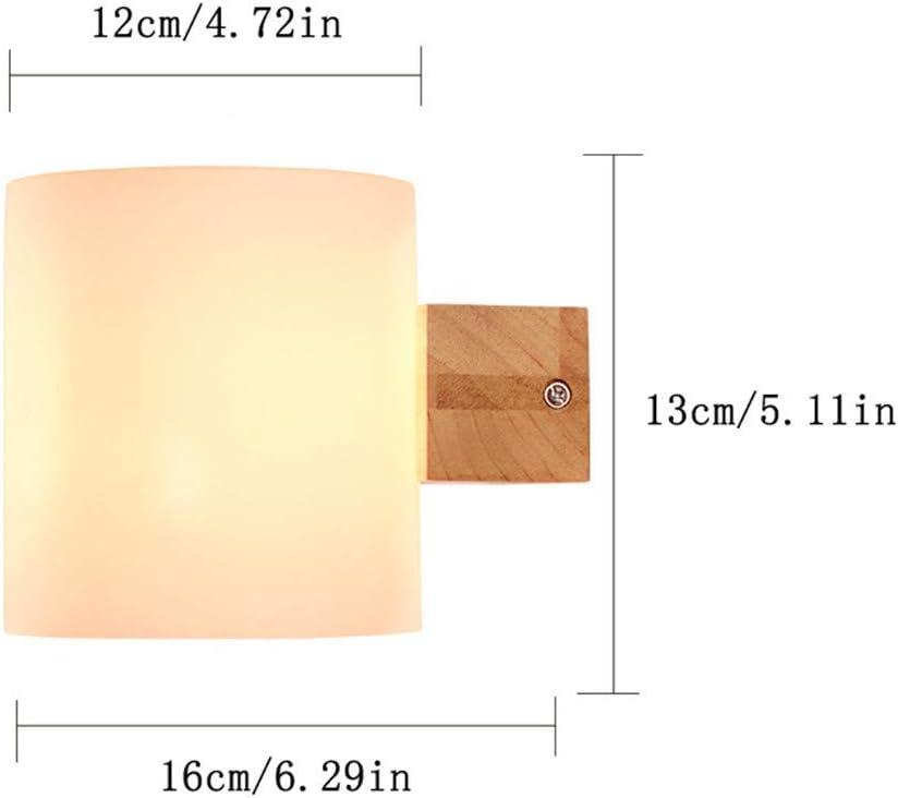 E27 moderno creativo de vidrio esmerilado pantalla de madera 1 cabeza de la pared de la l/ámpara dormitorio sala de estar pasillo Hotel caf/é resturante luz de la pared interior casa Decor,12 13cm