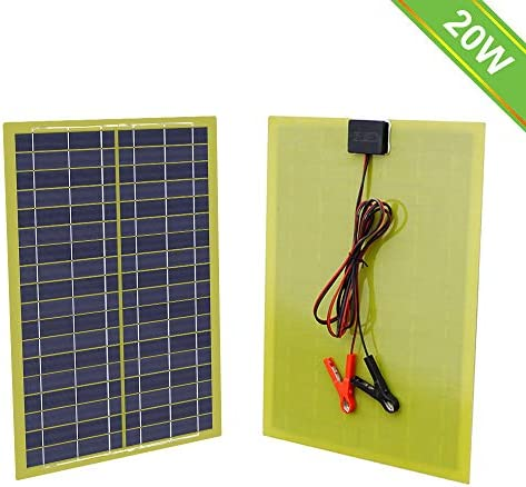 ECO-WORTHY 20 Watts Epoxy Solar Panel with 2m Cable 30A Clip for 12V Camping Battery Charger