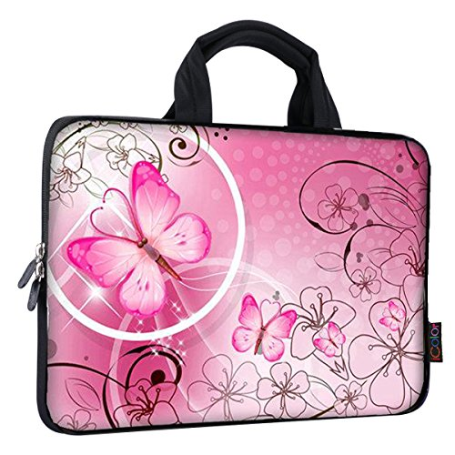 (iColor 14 15 15.4 15.6 inch Laptop Handle bag Computer Protect Case Pouch Holder Notebook Sleeve Neoprene Cover Soft Carring Travel Case for Dell Lenovo Toshiba HP Chromebook ASUS Acer Pink ICB-10)