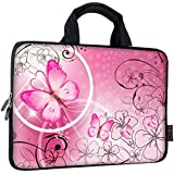 """iColor 9.7"""" 10"""" 10.1"""" 10.2"""" inch Neoprene Tablet Bag Carring Case Sleeve Cover with Handle For 9.7 to 10.2 Inch Laptops/Notebook/ebooks/Kids Tablet/Apple ipad Pink Butterfly ICB10-10"""