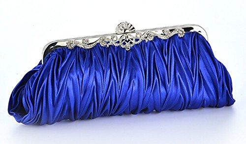 Gorgeous Silk Cocktail Evening Handbags Rhinestones Pleated Evening Bridal Clutch Purse (Royal Blue)