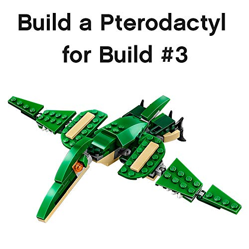 51mHxGos8VL - LEGO Creator Mighty Dinosaurs 31058 Build It Yourself Dinosaur Set, Create a Pterodactyl, Triceratops and T Rex Toy  (174 Pieces)