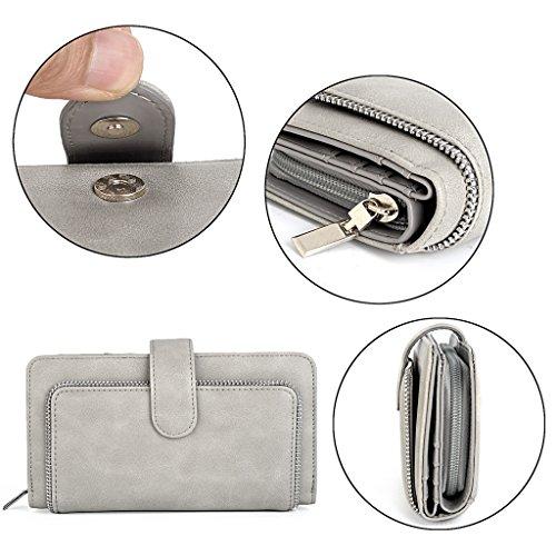 UTO Women PU Leather Wallet RFID Blocking Large Capacity 15 Card Slots Smartphone Holder Snap Closure D Grey by UTO (Image #3)
