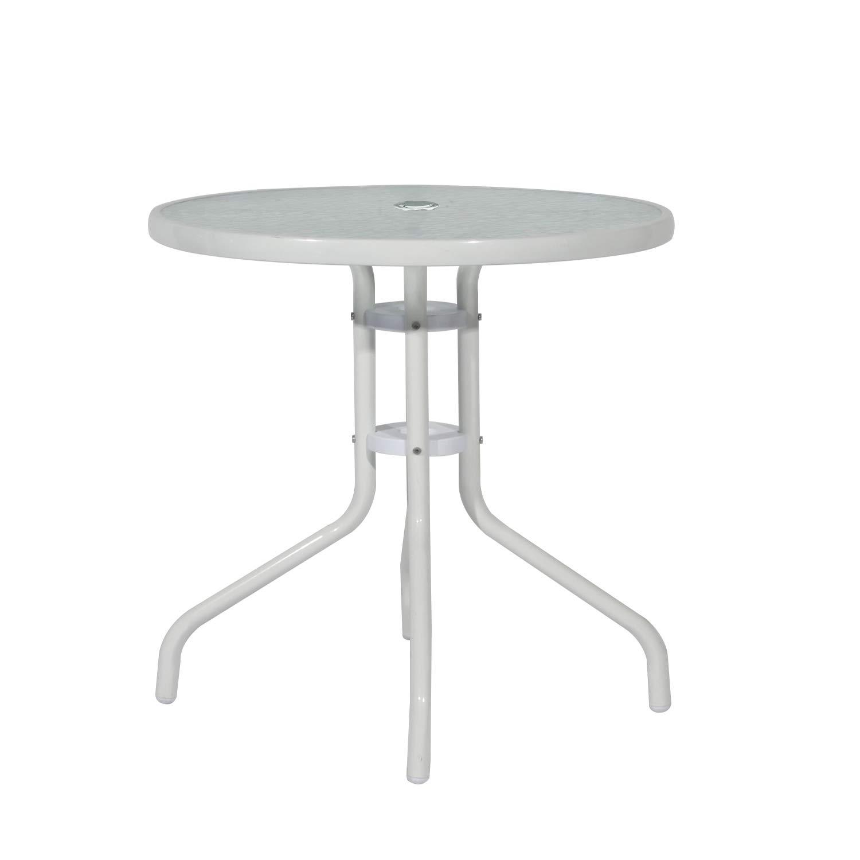DlandHome Tavolo Rotondo in Vetro temperato e tavolino per Esterno Moderno Tavolo da Pranzo Minimalista Tavolino da Giardino con Foro per Ombrello 80CM