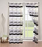 Elegant Home 2 Piece Chenille Striped Semi Sheer Window Treatment Curtain Panel Set of 2 Grommet Window Draperies Panels for Living Room Bedroom or ANY Window Up to 108″L X 84″W # Angelica (Black) For Sale