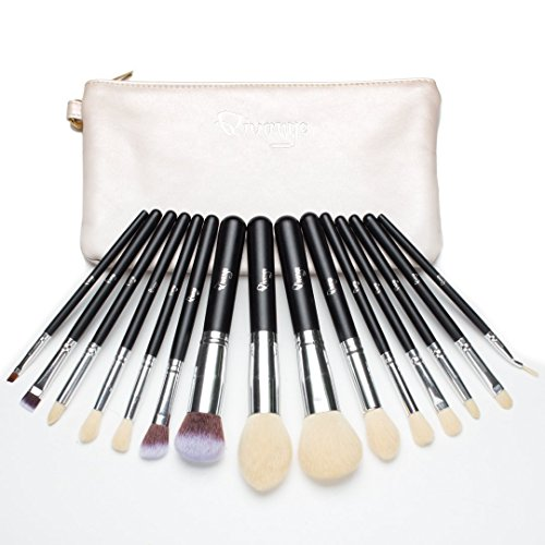 Qivange Makeup Brushes, Synthetic Eyeshadow Bronzer Foundation Brushes Set with Cosmetic Bag(15pcs, Black with Silver) - Bronzer Set