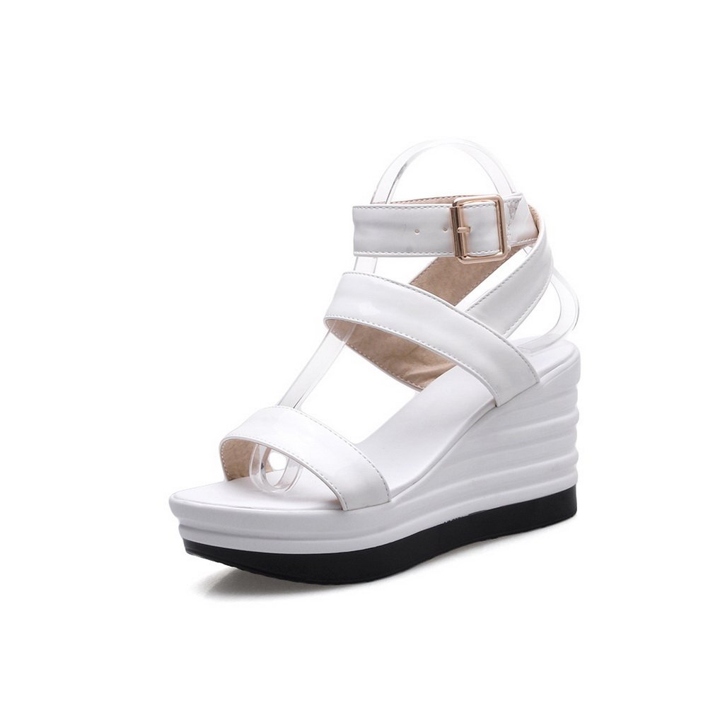 BalaMasa Womens Metal Buckles Wedges Platform Patent-Leather Platforms Sandals B07C71V6GX 4.5 B(M) US|White