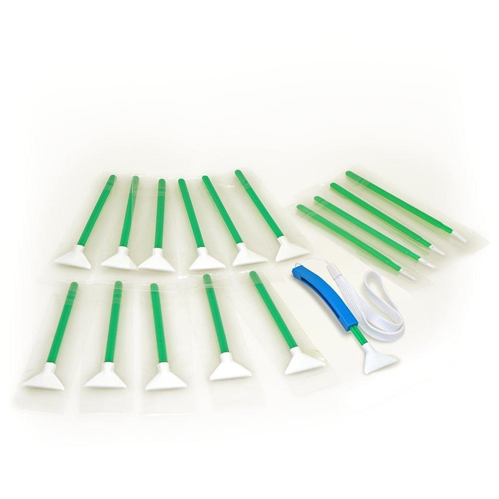 Sensor Cleaning swabs Vswabs MXD-100 Green 1.3X / 20 mm 12 per Pack with Bonus CurVswab and Corner Swabs by VisibleDust
