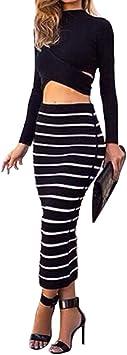 Moollyfox Mujer Cintura Alta Faldas Largas De Tubo Falda Delgado ...