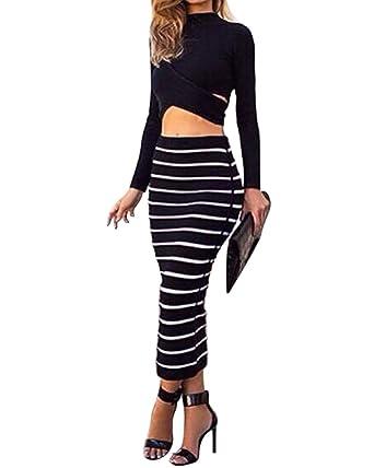 a31dacfc2a21 Moollyfox Femme Elegant Jupe Crayon Longue Stretch Jupe à Rayures Noir Et  Blanc Noir S