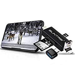 * SLIM AND SLEEK DESIGN - OUR SD/Micro SD Card Reader WILL BE THE WITNEES OF YOUR WONDERFUL TIME *The sd /micro sd card reader has various interfaces: usb/usb c (type c) / micro usb / lightning / iPhone charging port / sd card slot / micro sd...