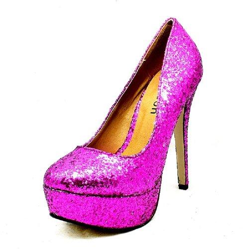 SendIt4Me Ladies High Heel Platform Party Court Shoes Cranberry gLFgqHXr