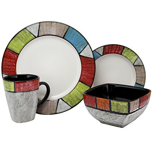 Elama ELM Country Cottage 16 Piece Stoneware Dinnerware Set, ()