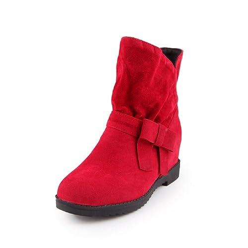 YORWOR - Botas plisadas mujer , color rojo, talla 38