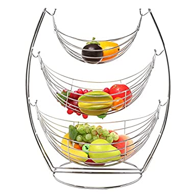 3 Tier Chrome Triple Hammock Fruit / Vegetables / Produce Metal Basket Rack Display Stand - MyGift®