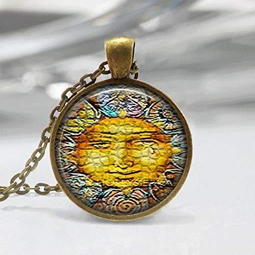 (Death Devil Art Picture Necklace,Sun Necklace Glass Tile Necklace Sun Jewelry Celestial Jewerly Glass Tile Jewelry Sun Jewelry Sun Face Jewelry,Gift of Love )