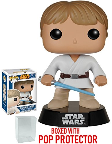 Funko Pop! Star Wars: Classic Luke Skywalker Tatooine #49 Vinyl Bobble-Head Figure (Bundled with Pop BOX PROTECTOR CASE)