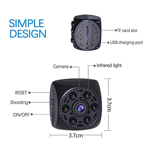 Spy Hidden Camera WiFi Wireless Mini Camera HD 1080P Spy Camera with 170 Degree Wide-Angle View, Night Vision Nanny Cam Motion Detection Home Office Security Suveillance Cameras