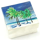 Kubla Craft Beach with Palm Trees Capiz Shell Keepsake Box, 3 Inches Square