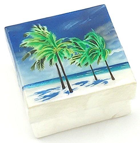 Printed Capiz Shell (Kubla Craft Beach with Palm Trees Capiz Shell Keepsake Box 3 X 3)