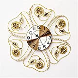 RFVBNM Classic European style Hotel Pearl flash drill acrylic iron mute living room wall clock Creative Brief about horizontal 6060cm Clocks