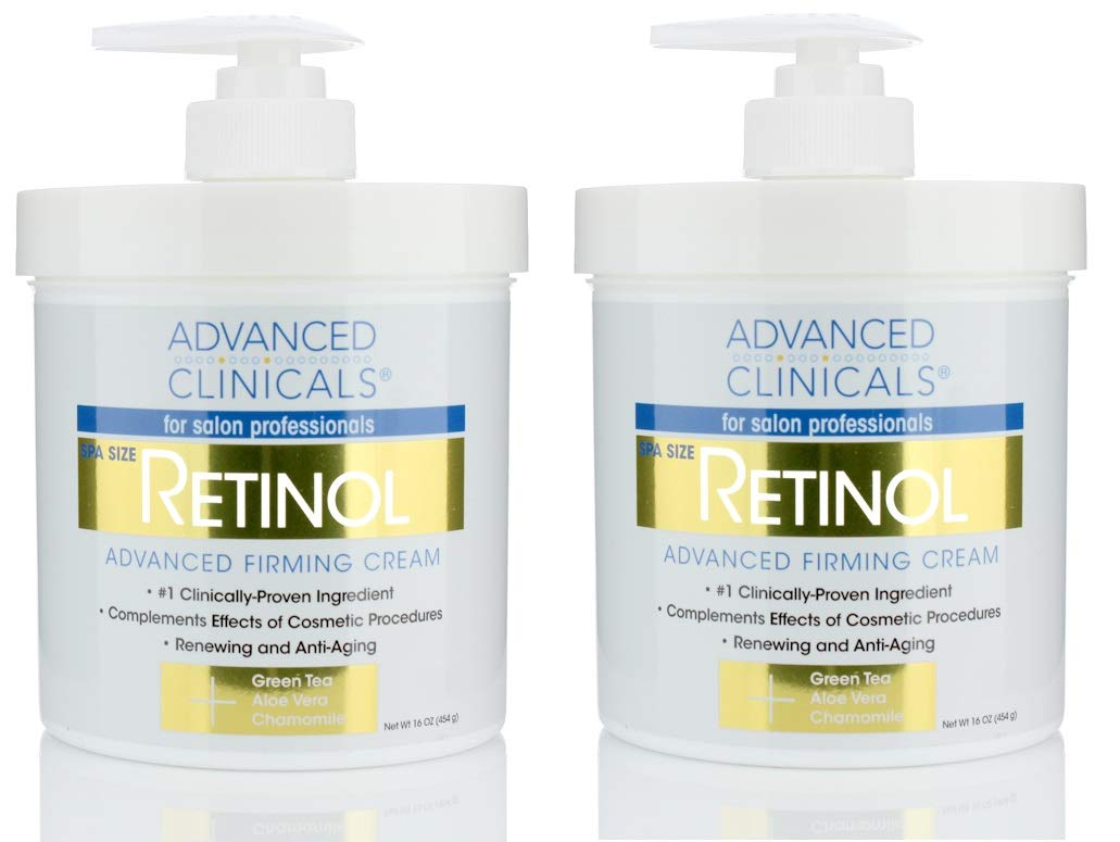Advanced Clinicals Retinol Cream. Spa Size for Salon Professionals. Moisturizing Formula Penetrates Skin to Erase the Appearance of Fine Lines & Wrinkles. Fragrance Free. (Two - 16oz) by Advanced Clinicals