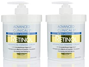 Advanced Clinicals Retinol Cream. Spa Size for Salon Professionals. Moisturizing Formula Penetrates Skin to Erase the Appearance of Fine Lines & Wrinkles. Fragrance Free. (Two - 16oz)