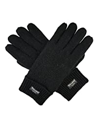 Bruceriver Men's Pure Wool Knitted Gloves with Thinsulate Lining Size S/M (Black)