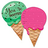 Big Dot of Happiness Sweet Shoppe - Shaped Fill-In Invitations - Candy and Bakery Birthday Party or Baby Shower Invitation Cards with Envelopes - Set of 12