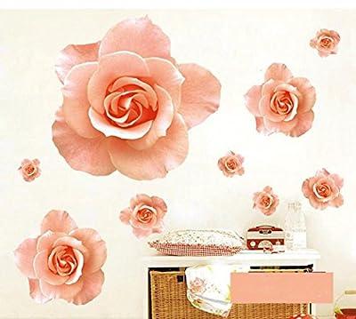 BIBITIME Romantic Pink Butterflies Rose Flower Wall Art Decals for Nursery Living Room Bedroom Vinyl Sticker Valentines Day Couple Bedside Decor Mural