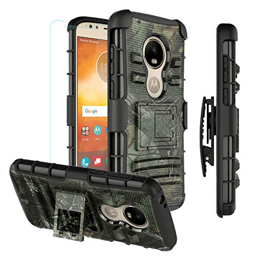 Moto E5 Play Phone Case,Moto E5 Cruise Case,Heavy Duty Rugged Armor Case Full Coverage with Belt Clip Holster and Tempered Glass Screen Protector for Motorola E5 Play-Camo (Camo Motorola Phone Case)