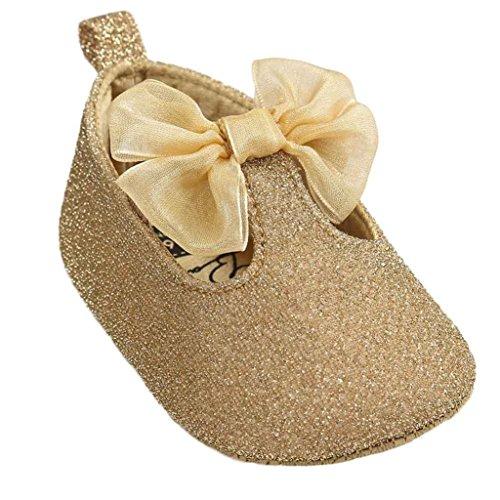 De Cuir Bowknot B Coton luckygirls Semelles En Souples Mois Fille Bébé Anti Tissu 0~18 Bébé dérapantes Sneaker Chaussures Or pqwXdF0F