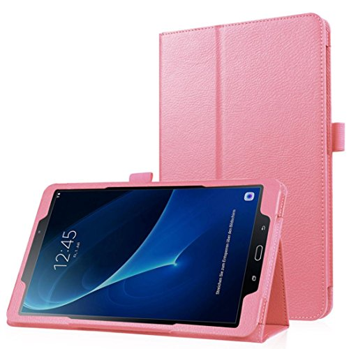 Price comparison product image For Samsung Galaxy Tab A 10.1 2016 T580N,Saingace Portable Carry Folding Stand Leather Case Cover (Pink)