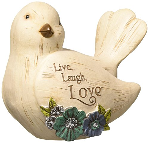 Love Birds Figurine - Pavilion Gift Company Decorative Live, Laugh Love Floral Bird Figurine 3.5 Inch