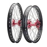 HONDA CRF250R CRF450R 2002-2013 Tusk IMPACT Complete Front/Rear Wheel Kit 21''/19'' Black Rim/Silver Spoke/Red Hub