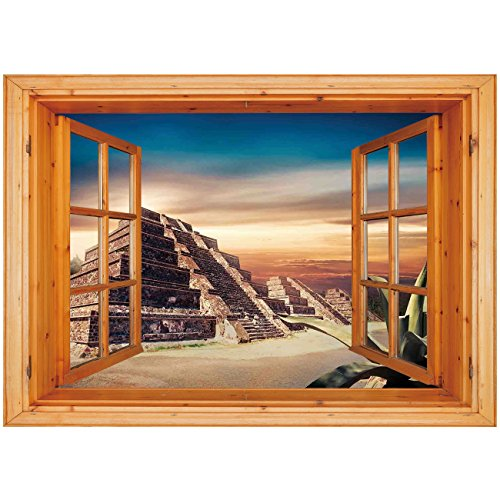 (3D Depth Illusion Vinyl Wall Decal Sticker [ Mesoamerican Decor,Aztec Pyramid at Sunset Dramatic Sky Staircase Tourist Old Ruins Architecture Landscape, Window Frame Style Home Decor Art Removable W)