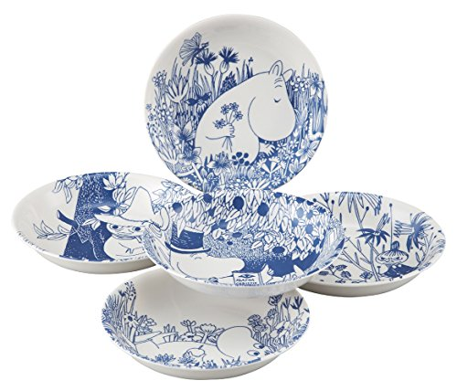 Moomin Valley Botanical Art Porcelain Pasta Bowl Set of 5 Yamaka ()
