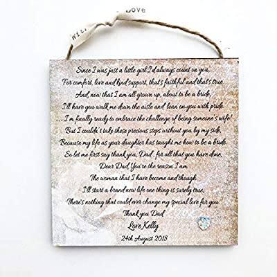 Father of the Bride Personalised Thank You Gifts Dad Daddy Wedding Favour Poem