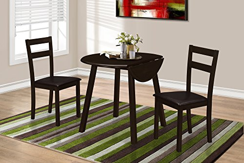 "CAPPUCCINO 36""DIA DROP LEAF TABLE DINING SET, SET OF 3"