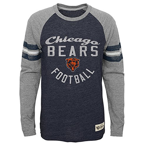 Bears Youth Apparel - NFL Youth Boys Football Pride Pride Long Sleeve Tee-Heather Deep Obsidian-L(14-16), Chicago Bears