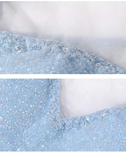 Sólido Lentejuelas En Larga Sbl Sexy Con Azul Noche Y Vestido V Falda Cuello Color Lentejuelas De qff61nH