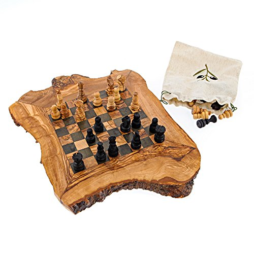 Natural Wood Chess - EliteCrafters Olive Wood Handmade, Chess Board Game Set, Rustic Style, Large 52x52cm (20.5''x20.5'')