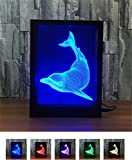 L&T STAR Dolphin Fashion Creative 3D Gift Lamp Bedside Lamp Led Night Light Decorative Atmosphere Acrylic Photo Frame Lamp