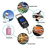 Maikouhai ABS Hand LCD Electronic Digital Scale Travel Fish Luggage Hanging Hook Weight Check, Weight Range 0.001-50kg / 0.01-110 lbs / 0.1oz - 1760oz, Black