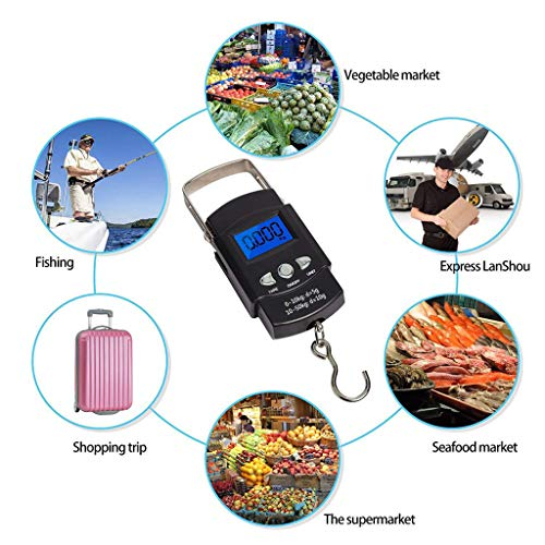 - Maikouhai ABS Hand LCD Electronic Digital Scale Travel Fish Luggage Hanging Hook Weight Check, Weight Range 0.001-50kg / 0.01-110 lbs / 0.1oz - 1760oz, Black